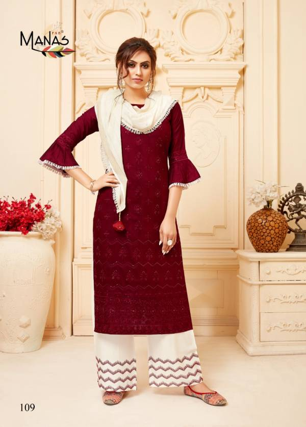 Manas Fab Lucknowi Vol 2 Series 107-112 Fancy Fabric With Lucknowi Embroidery Work Top Bottom With Stole Collection