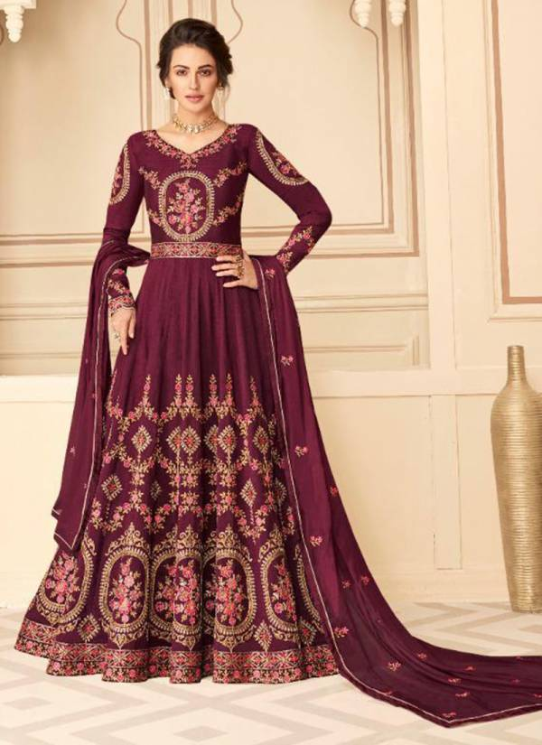 Aashirwad Maharani Series 7209-7212 Pure Silk With Fancy Embroidery Work Anarkali Suits Collection