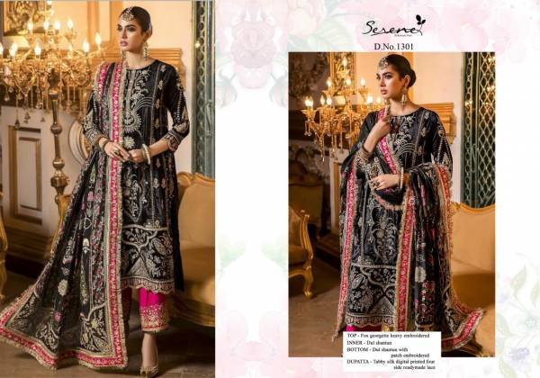 Serene Azalea Faux Georgette Heavy Embroidery Work Eid Special Pakistani Suits Collection