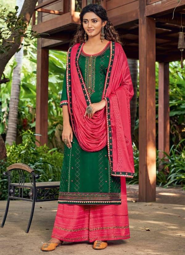 Kessi Safari Series 5641-5648 Jam Silk With Embroidery Work Designer Casual Wear Palazzo Suits Collection