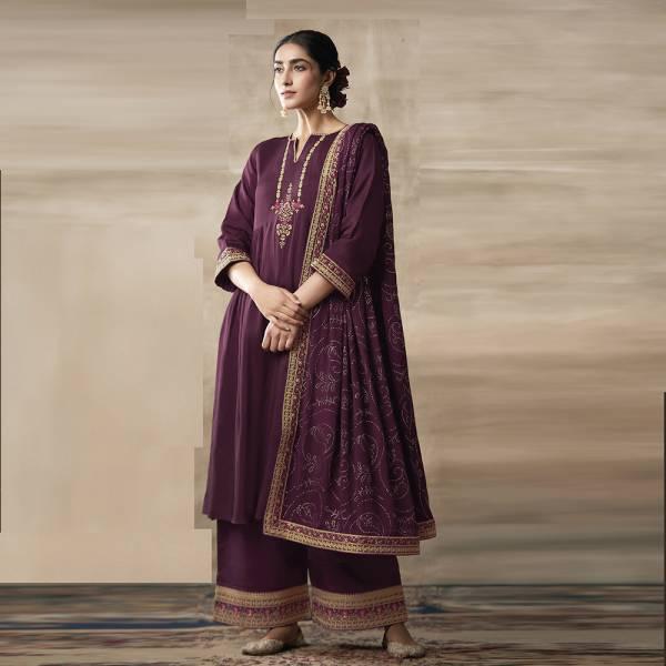 Kimora Heavy Chinon Designer Embroidery Work Festival Wear Designer Palazzo Suits Collection