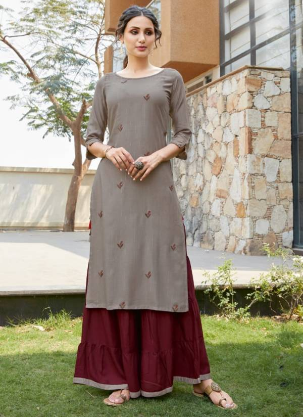 Mittoo Zohra Vol 5 Series 4029MZ-4034MZ Heavy Rayon With Zari Strips Hand & Embroidery Work New Designer Kurtis With Palazzo Collection