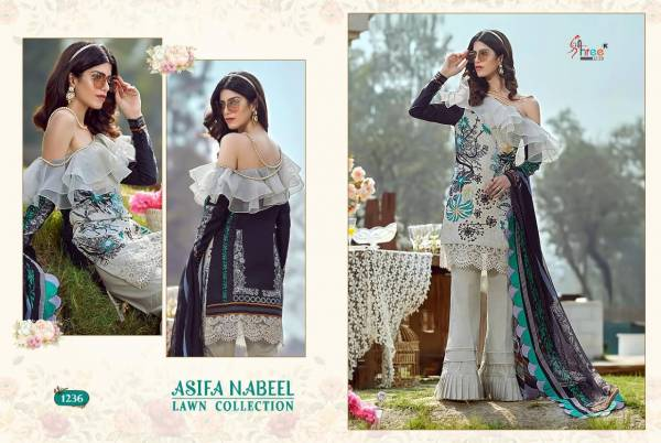 Shree Fab Asifa Nabeel Lawn Series 1232-1238 Pure Jam Cotton Digital Print With Exclusive Designer Embroidery Work Pakistani Suits Collection
