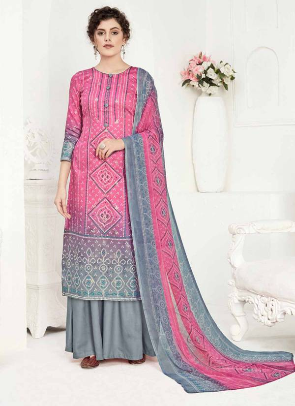 Alok Suit Kainaat Series 628-001 - 628-008 Pure Jam Cotton Bandhani Digital Style Foil Printed New Fancy Palazzo Suits Collection