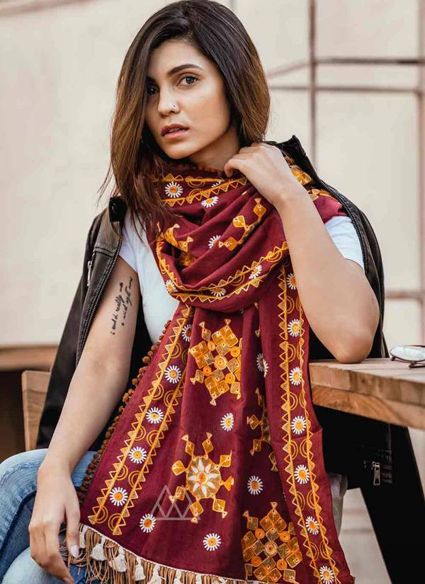 Mesmora Mufflers Stoles Series #MF10001-#MF10010 Khadi Woollen With Embroidery Work & Pompom Lace New Designer Winter Special Stole Dupatta Collection