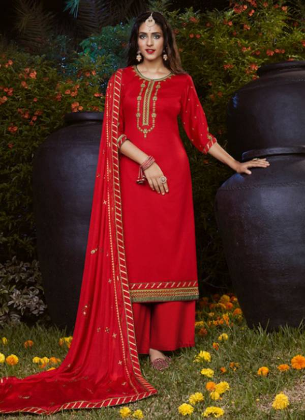 KVS Suhaag Series 1741-1744 Jam Silk Cotton With Embroidery Work Karwa Chauth Special Suits Collection