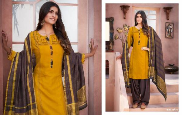 Kalaroop Avenue Patiyala Flex Rayon With Work Readymade Patiyala Suits Collection