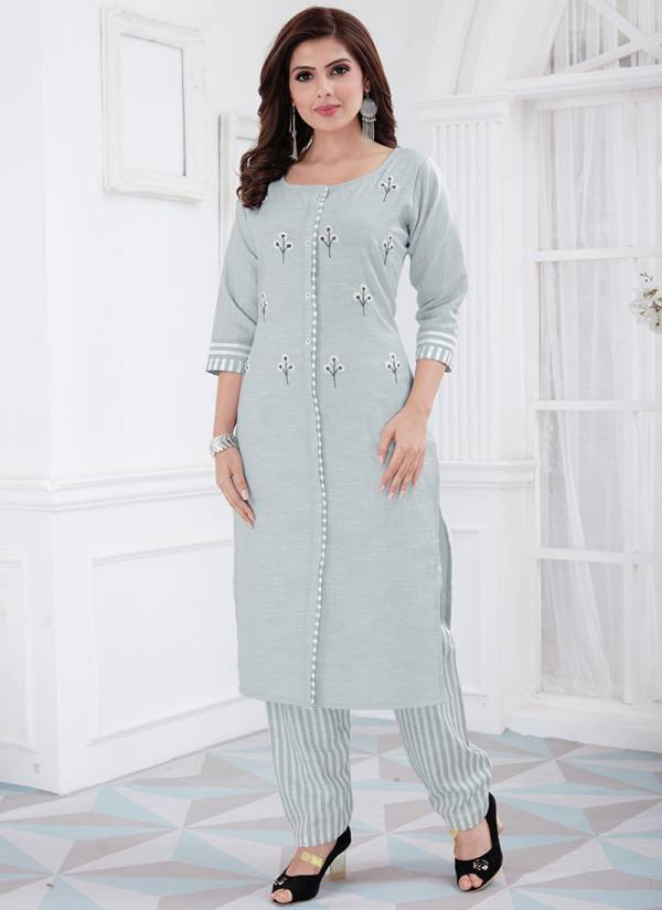 KVS Krissa Series KVSKS161RBY-KVSKS172RBY Cotton With Embroidery Work Straight Cut Kurtis With Pants Collection