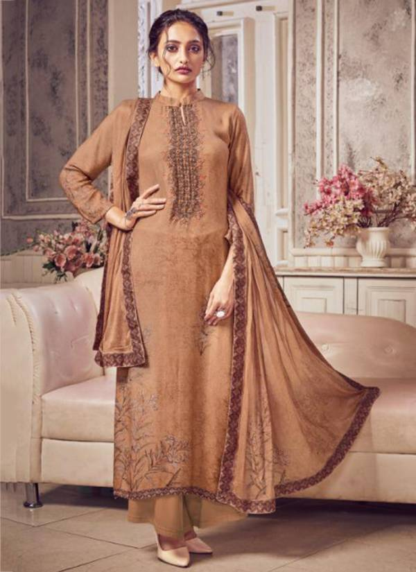 Aanzara Acme Weavers Rihanaa Series 5001-5007 Pure Pashmina Twill Wool With Neck Embroidery Work Palazzo Suits Collection