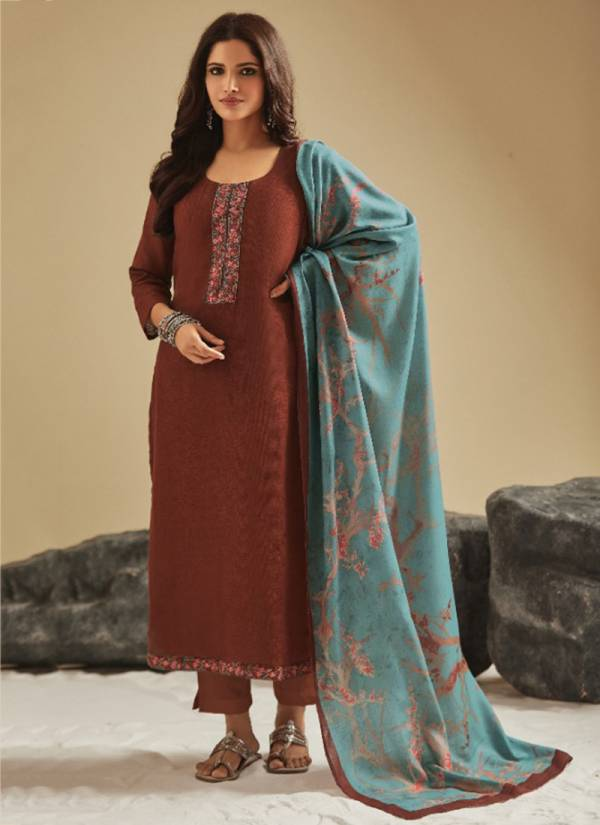Om Tex Diya Series V-41 - V-52 Pashmina Twill Checks With Fancy Embroidery Work Office Wear Suits Collection