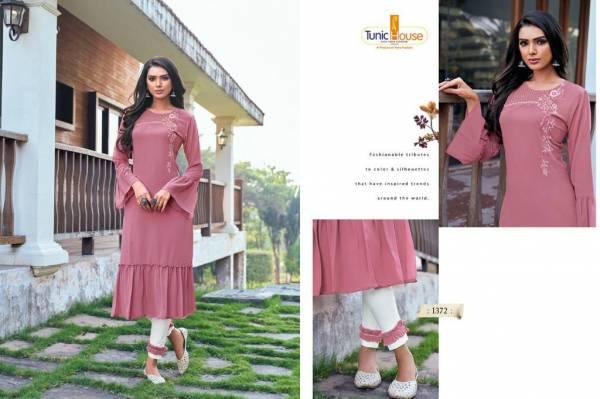Tunic House Nova Heavy Georgette With Hand Work Reguler Wear Designer Kurti Collection
