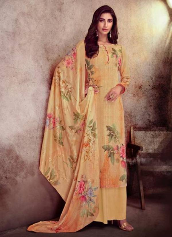 Karma Qaynat Series 466-471 Pure Muslin Digital Print With Embroidery Work Latest Designer Palazzo Suits Collection