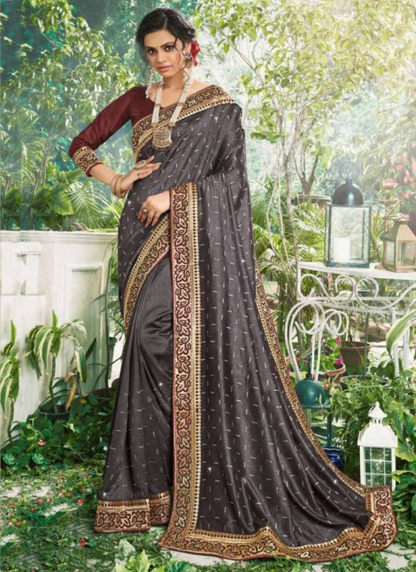 Saroj Muskaan Series 149001-149006 Lates Pxc Vichitra Silk With Swarovski Work And Beautiful Border Party Wear Sarees Collection