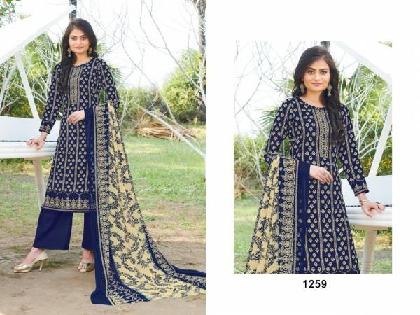 Biposn Kyraa Blue Cotton Slub Printed Fancy Palazzo Suits Collection