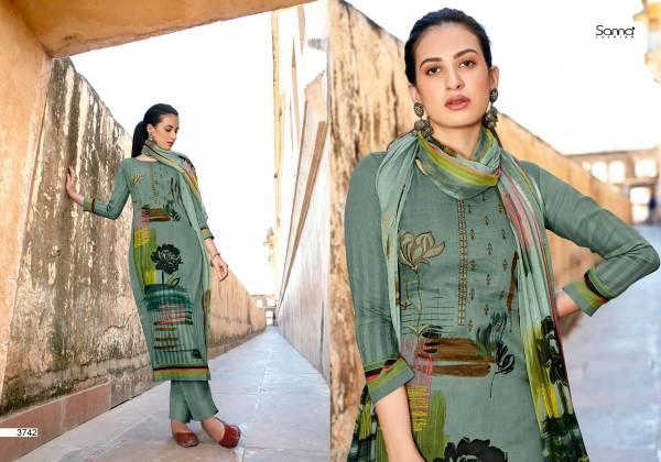 Sanna Fashion Naila Pure Jam Silk Digital Printed Work Designer Suit Collection