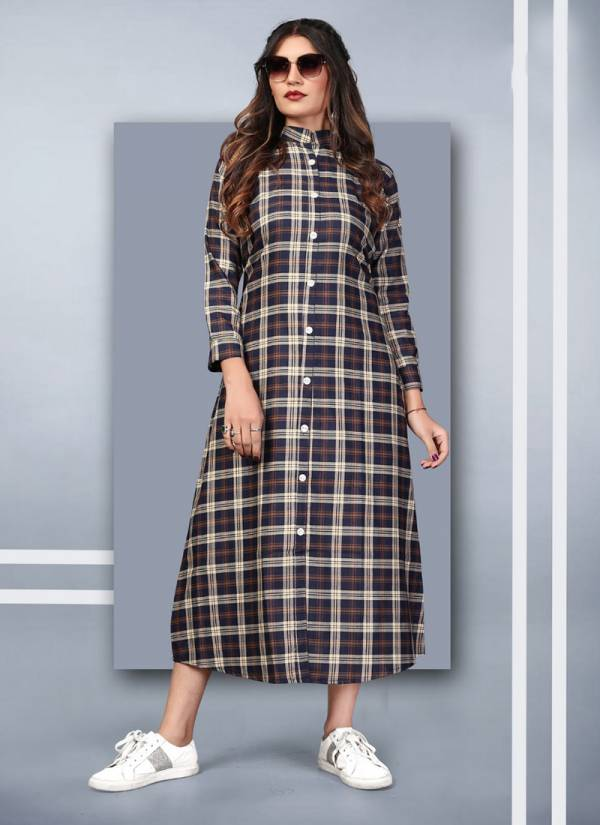 Vee fab Winter Grace Vol 7 Series WG701-WG706 Cotton Twirl Checks Printed New Fancy Casual Wear Kurtis Collection