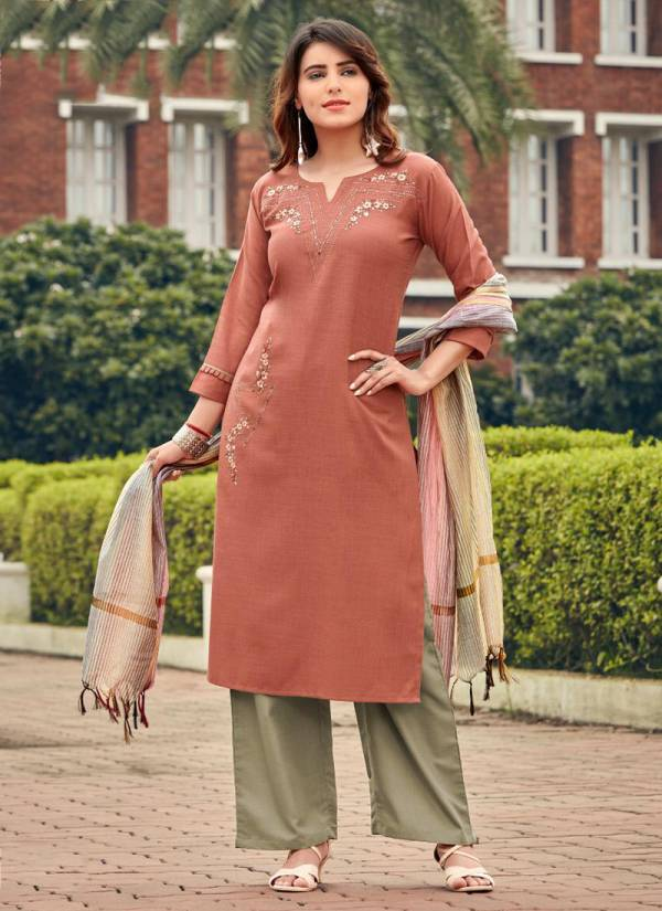Ladies Flavour Marigold Series 1001MA-1008MA Polyester Cotton Latest Designer With Fancy Work Kurtis With Palazzo And Dupatta Collection