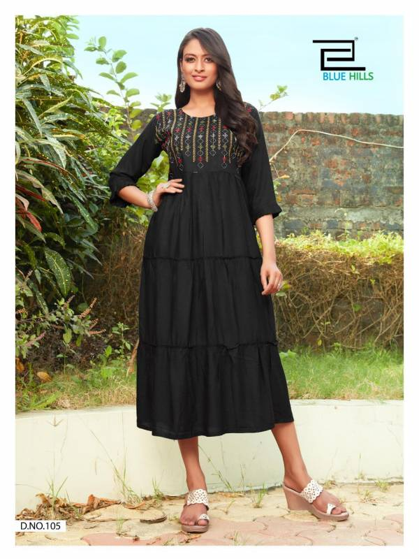 Blue Hills Celebration Vol 1 Series 101-108 Heavy Rayon Slub Frill Style With Embroidery Work Casual Wear Kurtis Collection
