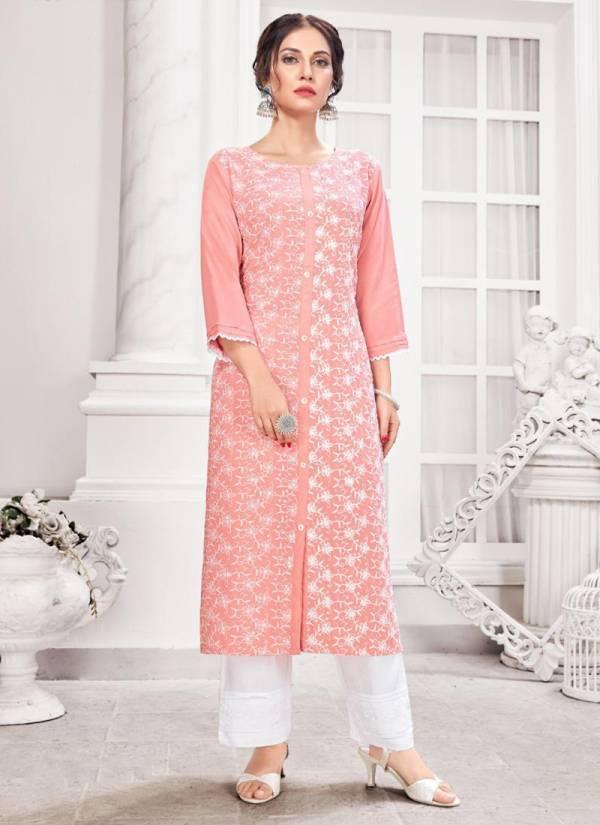 Hazeel Schiffli Series 1001-1005 Pure Rayon With Schiffli Sequins Work Casual Wear Kurtis With Pants Collection