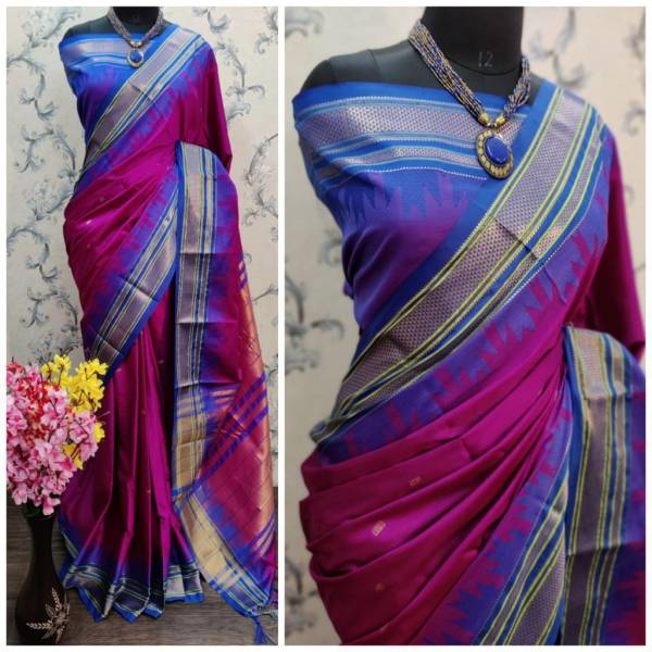 Redolance Temple Paithni Series S-1 - S-9 Pure Cotton Silk With Gold Zari Butti Traditional Wear Sarees Collection