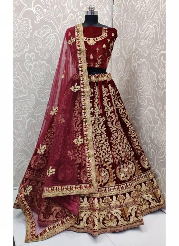 Anjani Art RC1017-RC1017A Pure Velvet Dori Embroidery & Zari Embroidery Diamond Work Heavy Lehenga Choli Collection