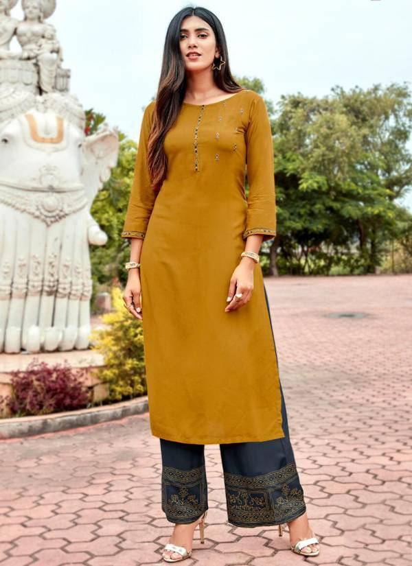 Koodee Crysta Series 1001KC-1008KC Rayon With Designer Embroidery Work Fancy Kurti With Fancy Print Palazzo Collection
