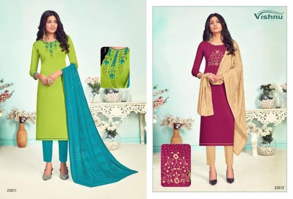 Vishnu Impex Lamhe Cotton Slub With Fancy Hand Work Churidar Suits Collection
