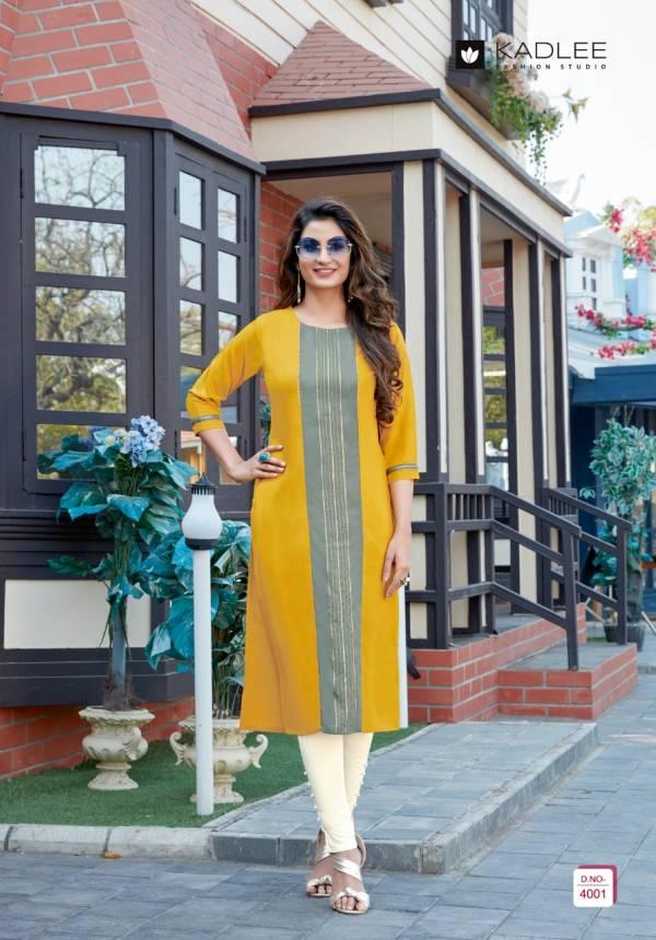 Kadlee Fashion Studio Swara Vol 1 Heavy Rayon Designer Casual Wear Kurti With Pant Collection