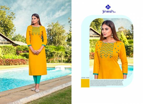 Jinesh NX Angoori Vol 1 Series 1001-1010 Rayon With Hand Embroidery Sequence Work Fancy Wholesale Price Kurtis Collection