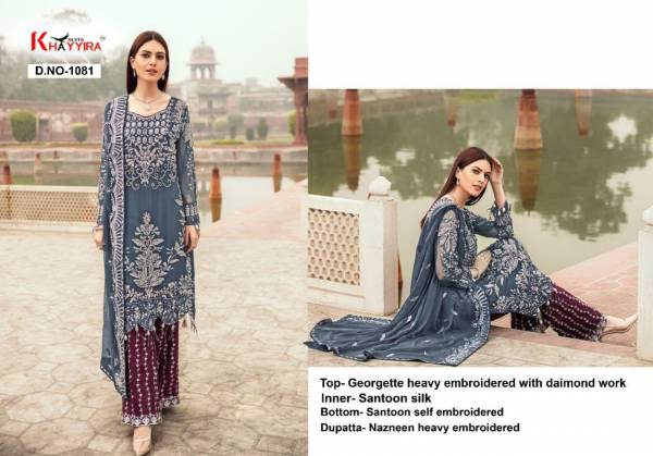 Khayyira Suits Series 1081-1082B Georgette Heavy Embroidery And Diamond Work New Designer Pakistani Suits Collection