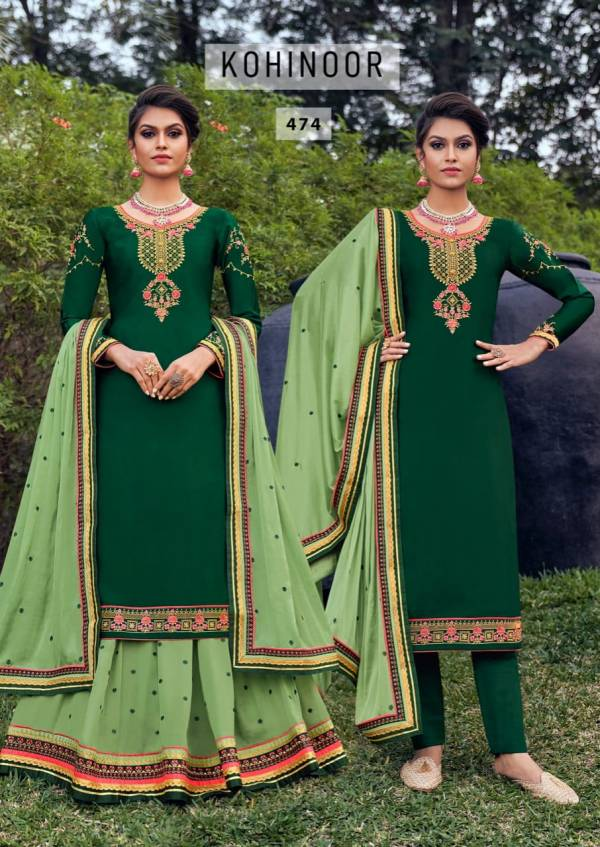 Triple AAA Kohinoor Satin Georgette With Embroidery Work Latest Designer Lehenga Suits Collection