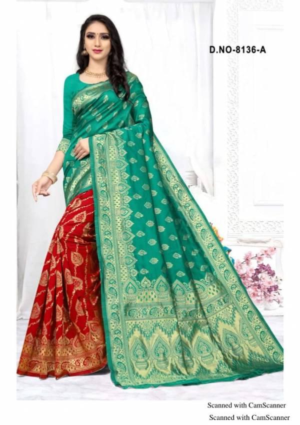 Kodas Kangan Series 8136A-8136D New Designer Handloom Jacquard Work Silk Party Wear Sarees Collcetion