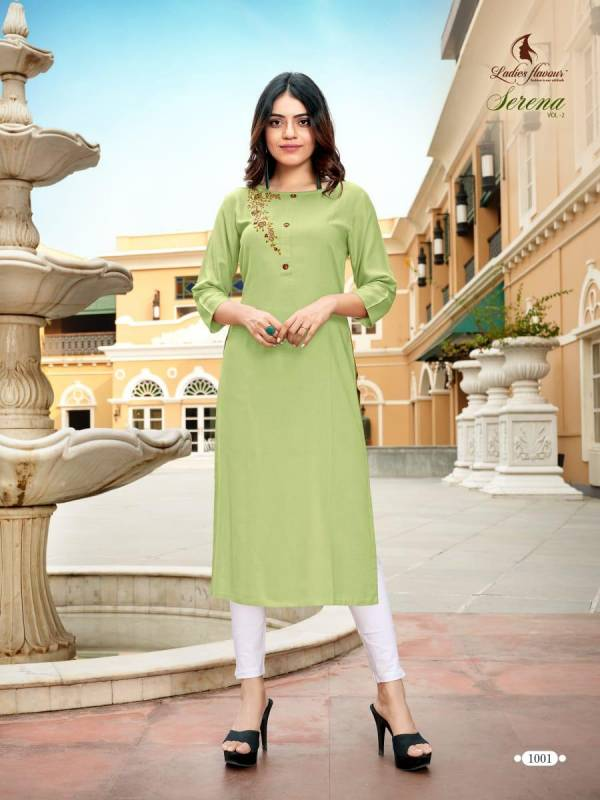 Ladies Flavour Serena Vol 2 Series 1001-1006 Rayon With Embroidery Work Straight Cut New Designer Kurtis Collection