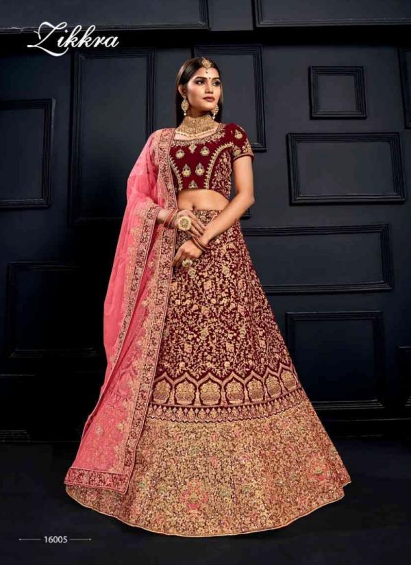Kesari Exports Zikkra Vol 16 Series 16001-16007 Velvet And Net Exclusive Designer Heavy Zari Work Wedding Wear Lehenga Cholis Collection