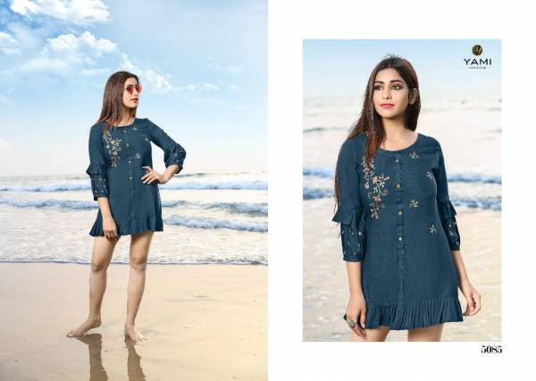 Yami Fashion Bold Vol 3 Series 5081-5089 Rayon Base With Machine Embroidery Work Latest Designer Tops Collection