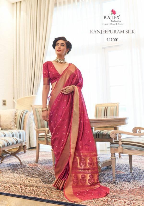 Rajtex Kanjeevaram Pure Silk Fancy Embroidery Work Wedding Wear Designer Sarees Collection