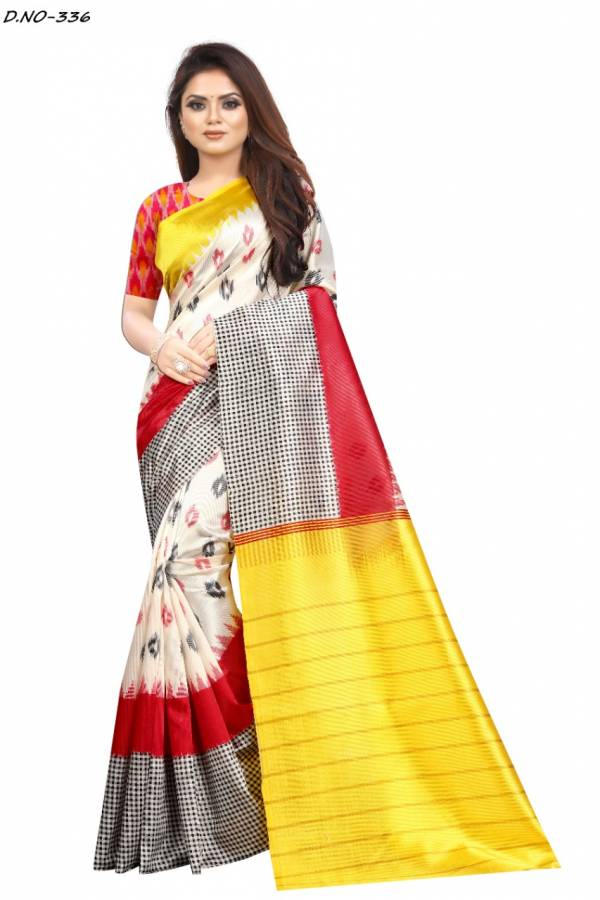 Ladys Ethnic Raazi Series 331-340 Soft Raw Silk With Digital Printed Casual Wear Sarees Collection
