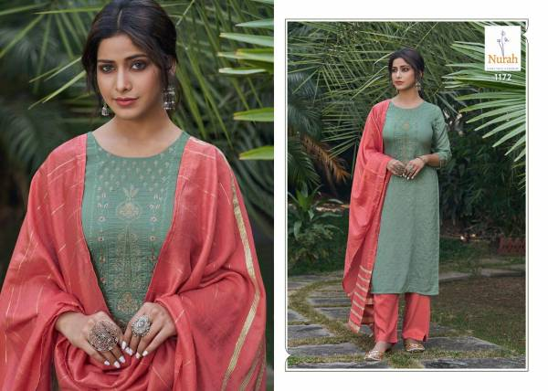 Neha Fashion Nikunj Chinnon Stripe Silk With Embroidery Work Readymade Salwar Suits Collection