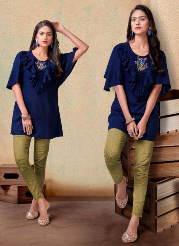 Vardan Designer Nora Vol 2 Series 2061-2065 Heavy Rayon Short Top With New Designer Embroidery Work Collection