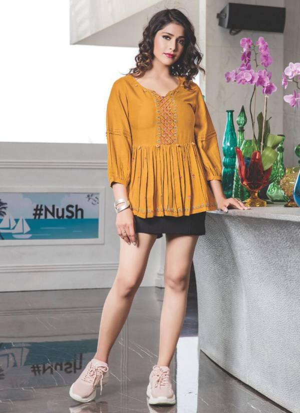 Yami Fashion Topsy Vol 12 Series 4541-4549 Rayon Base Weaving Embroidery Work Trendy Look Casual Wear Short Tops Collection