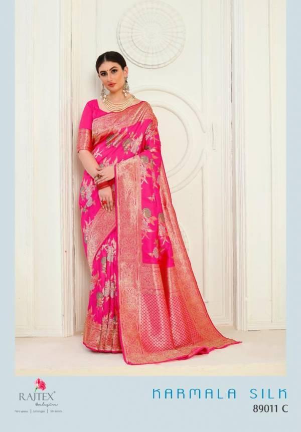 Rajtex karmala Silk Weaving  Fancy Designer Printed Work Reception Wear Designer Sarees Collection