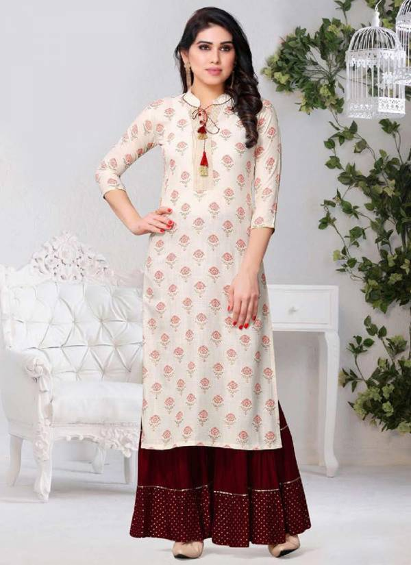 Fabfirki Sarara Series 1049-1051 Rayon Latest Designer Daily Wear Printed Kurti With Sharara Collection