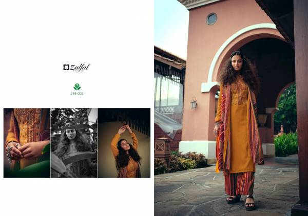 Zulfat Designer Suits Sohini Series 218-001 - 218-010 Exclusive Gorgeous Pure Pashmina Print With Heavy Kashmiri Embroidery Work Winter Suits Collection