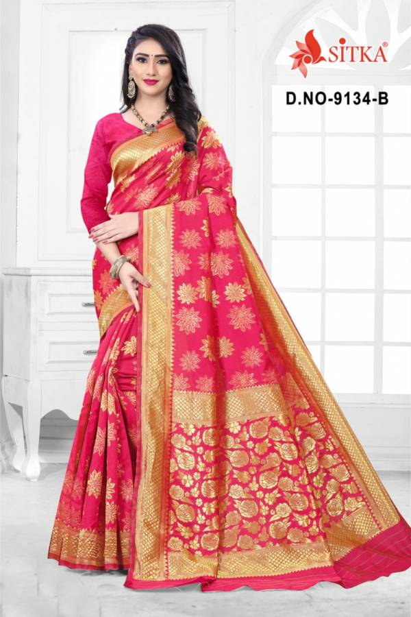 Sitka Natural  Silk Handloom Jacquard Design Daily Wear Fancy Sarees Collection