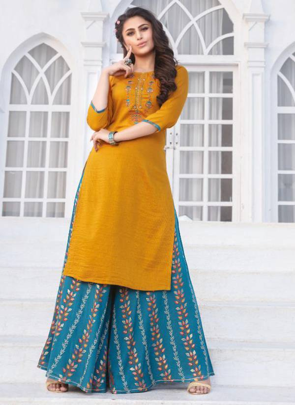 Kiana Akshra Doby Viscose fancy Embroidery Work Designer Kurtis With Palazzo Collection