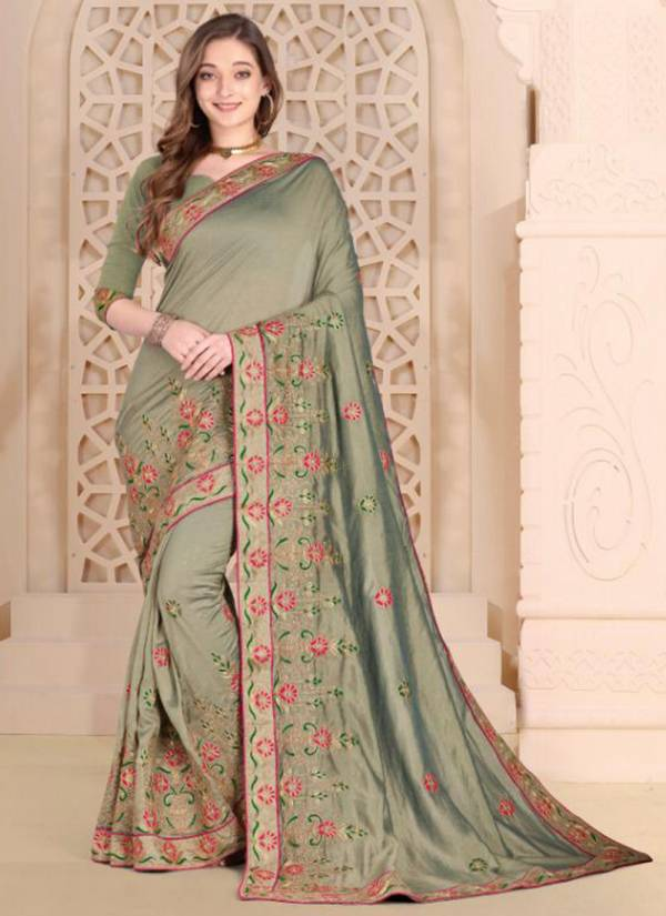 Ladys Ethnic Payal Series 4001-4011 Vichitra Silk With Stylish Embroidery Work Party Wear Exclusive Sarees Collection