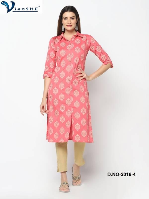 Gaurav Textile Vianshe Cotton Flex Straight Regular Wear Kurtis Collection