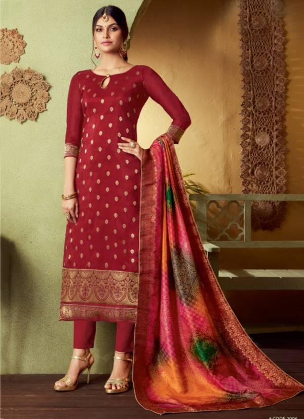 Kala Fashion Jacquard Vol 5 Series 2001KFJ-2007KFJ Pure Jacquard Silk New Designer Traditional Look Salwar Suits Collection