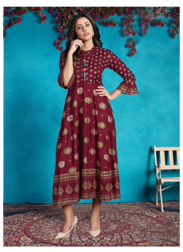 Vee Fab Classy Series 101-105 Rayon Mix And Match Gold Printed Designer Casual Wear Kurtis Collection