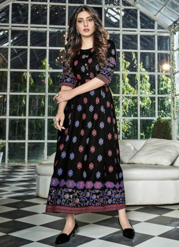 Kanika Aarohi Rayon Foil Printed Long Fancy Gowns Collection